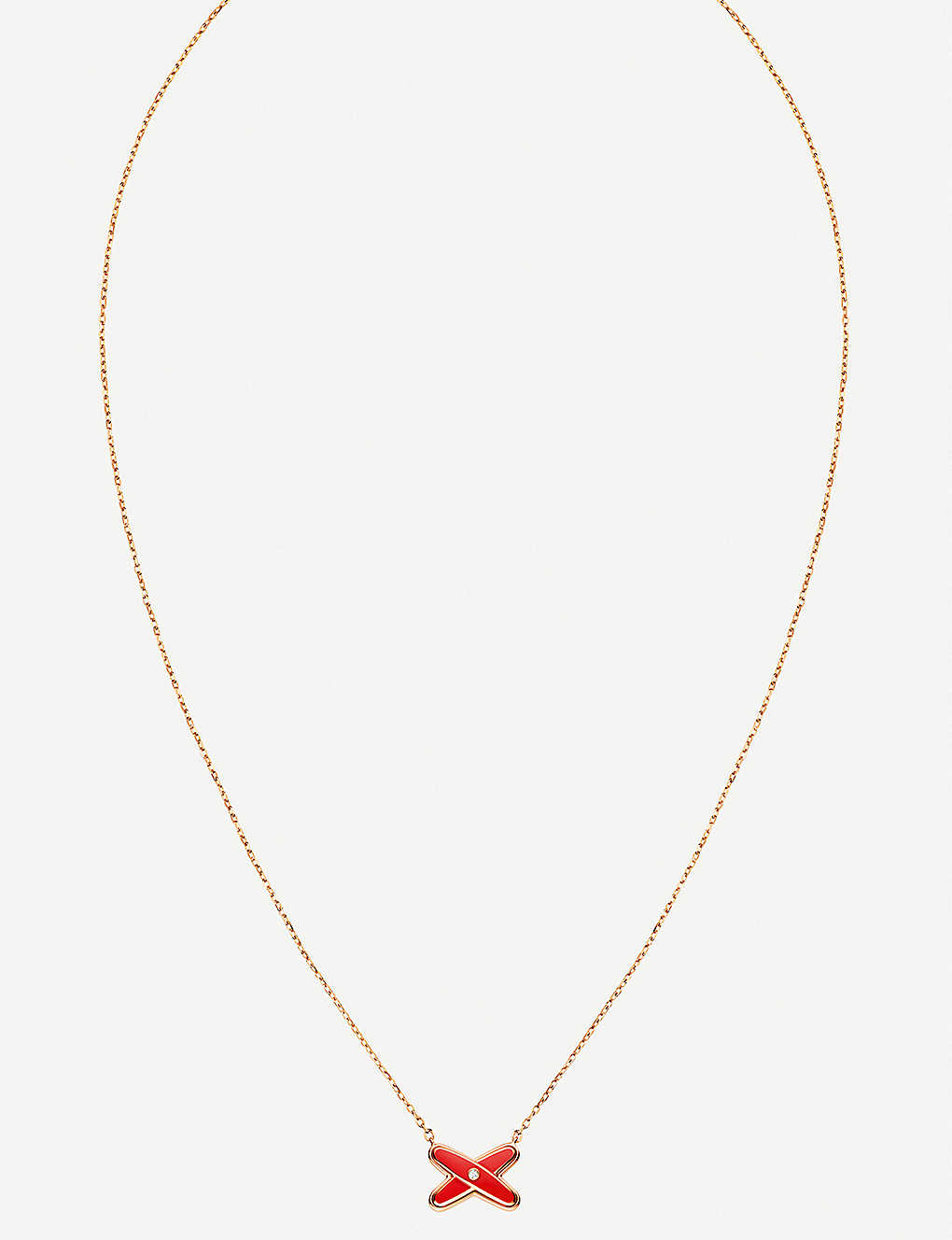 CHAUMET: Jeux de Liens 18ct rose-gold and diamond pendant necklace
