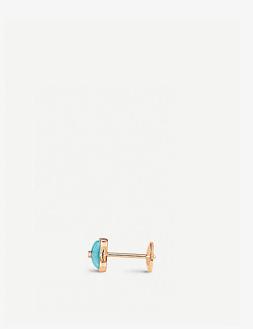 CHAUMET Jeux de Liens 18ct rose-gold, turquoise and diamonds stud earrings