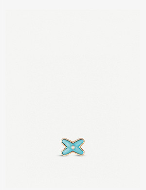 CHAUMET Jeux de Liens 18ct rose-gold, turquoise and diamonds stud earring