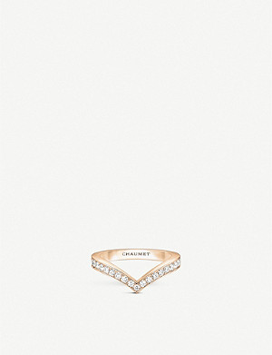 CHAUMET Joséphine Aigrette 18ct rose-gold and diamonds wedding band ring