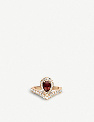 CHAUMET Joséphine Aigrette 18ct rose-gold, garnet and diamonds ring
