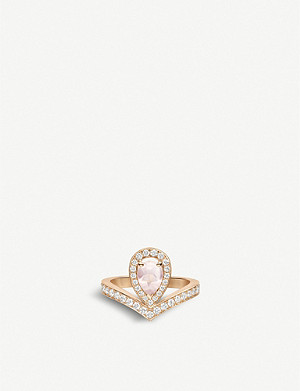 CHAUMET Joséphine Aigrette 18ct rose-gold, pink quartz and diamonds ring
