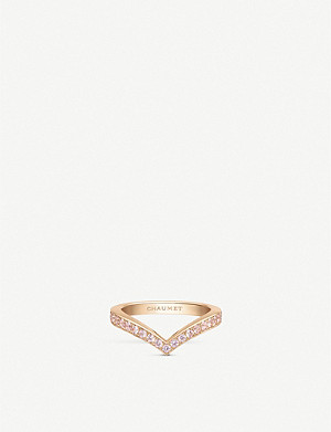 CHAUMET Joséphine Aigrette 18ct rose-gold and pink sapphire wedding band ring
