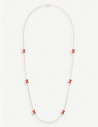 CHAUMET: Jeux de Liens 18ct rose-gold, red lacquer and diamond necklace
