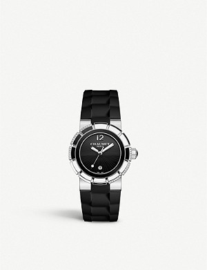 CHAUMET W1722B-20B Class One stainless steel, diamond and rubber watch