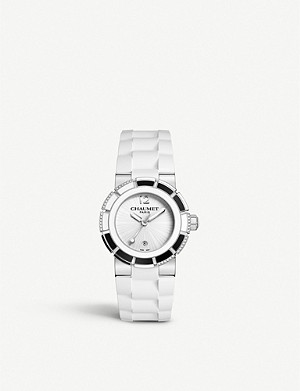 CHAUMET W1722W-20W Class One stainless steel, diamond and rubber watch