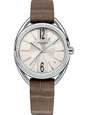 CHAUMET W2327101A Liens stainless steel, diamond and leather watch