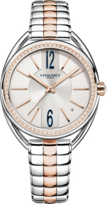 CHAUMET W23771-02A Liens 18ct rose-gold and diamond bracelet watch
