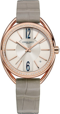 CHAUMET W23871-02A Liens 18ct pink-gold, diamond and leather watch
