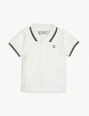 PETIT BATEAU Logo striped cotton polo shirt 3-24 months