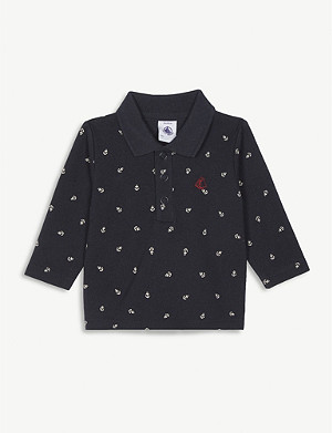 PETIT BATEAU Anchor print cotton polo shirt 3-36 months