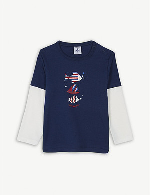 PETIT BATEAU Fish print long-sleeve cotton T-shirt 3-36 months