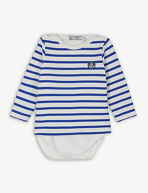 PETIT BATEAU Striped sailor cotton bodysuit 6-36 months