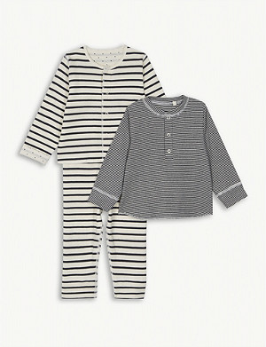 PETIT BATEAU Cotton cardigans and leggings 3-piece set 1-12 months