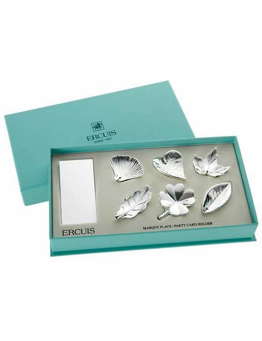 ERCUIS: Leaf silver-plated place-card holders set of six