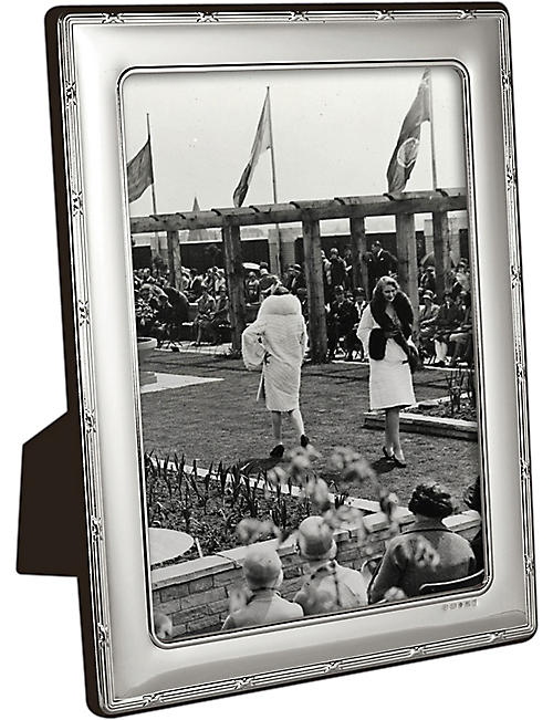 "CARRS OF SHEFFIELD Reed and Ribbon sterling silver photo frame 10"" x 8"""