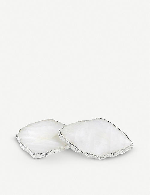 ANNA NY BY RABLABS Kivita silver and crystal coasters set of two