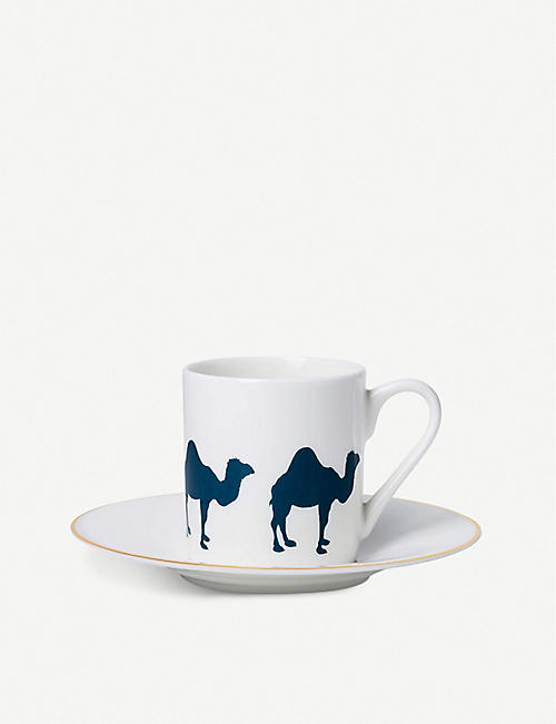 ALICE PETO Camel porcelain espresso cup and saucer set