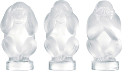 LALIQUE Wisdom set of three crystal monkeys