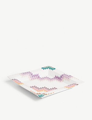 MISSONI HOME Zig Zag square porcelain tidy tray 24.5cm x 24.5cm