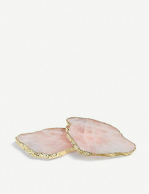 ANNA NY BY RABLABS Kivita rose gold-trim coasters set of two