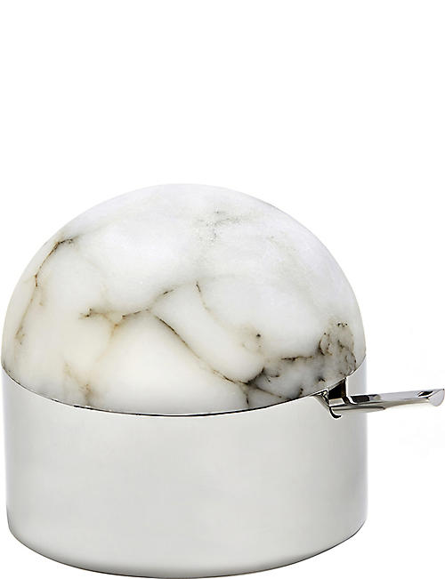 5844f4fa728f ANNA NY BY RABLABS - Amare stainless steel and alabaster sugar bowl with  spoon