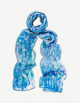 BEATRICE JENKINS: Hurlingham Palm silk scarf