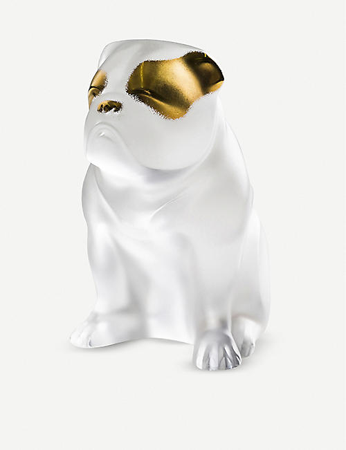 LALIQUE Bulldog crystal sculpture 10cm