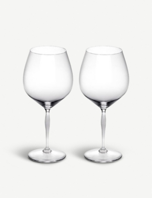 LALIQUE 100 Point Burgandy crystal wine glasses