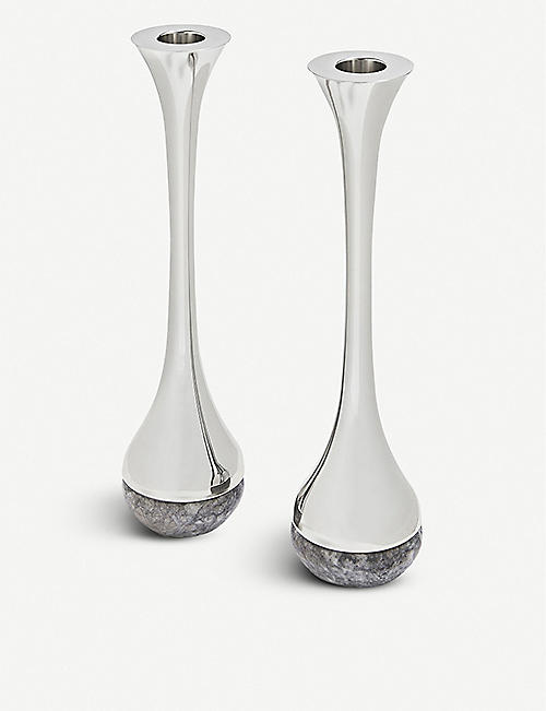 ANNA NY BY RABLABS: Stainless steel and marble candestick set of two