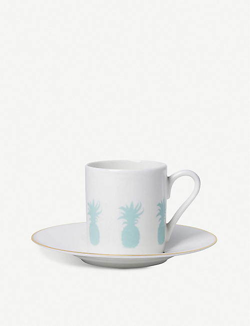 ALICE PETO Pineapple espresso cup and saucer set