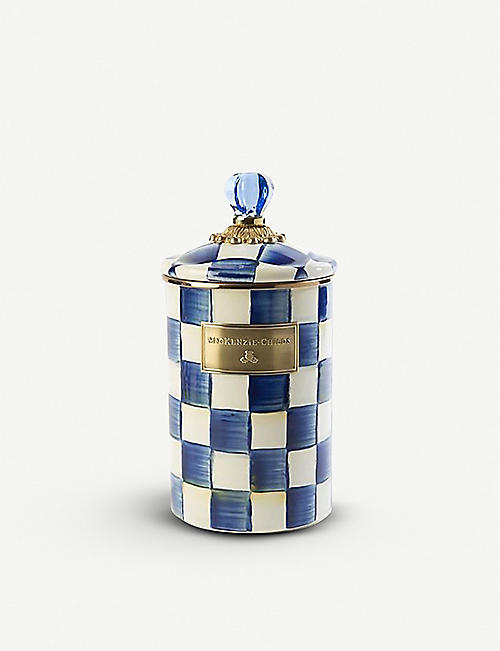 MACKENZIE CHILDS: Royal Check checked enamelled-steel canister 25cm