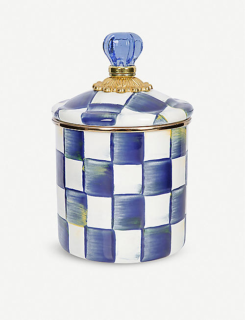 MACKENZIE CHILDS: Royal Check checked enamelled-steel canister 15cm