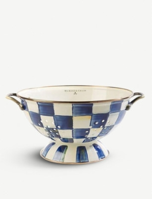 MACKENZIE CHILDS Royal Check checked enamelled-steel colander 14cm