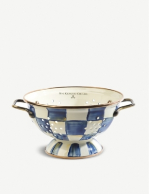 MACKENZIE CHILDS Royal Check checked enamelled-steel colander 8.8cm