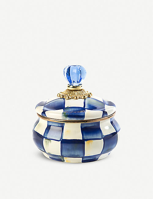 MACKENZIE CHILDS Royal Check hand-enamelled squashed pot 13.7cm