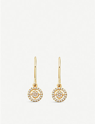 ASTLEY CLARKE: Mini Icon Aura 14 carat yellow gold drop earrings