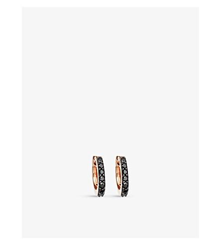 Astley Clarke MINI HALO 14CT ROSE-GOLD AND BLACK DIAMOND HOOP EARRINGS