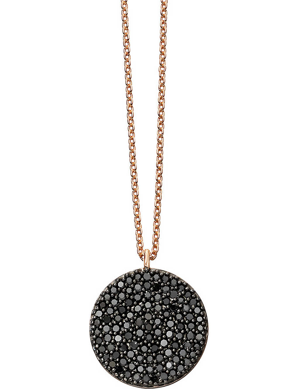 ASTLEY CLARKE: Icon 14ct rose-gold and black diamond pendant