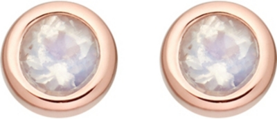 ASTLEY CLARKE Mini Stilla 18ct rose gold-plated and moonstone stud earrings
