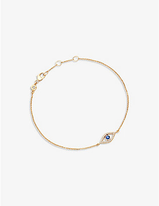 ASTLEY CLARKE: Evil Eye 14ct yellow gold, sapphire and diamond bracelet