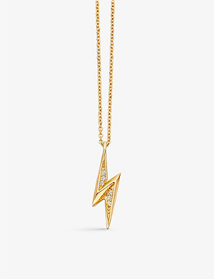 ASTLEY CLARKE Mini lightning bolt 18ct yellow-gold plated necklace