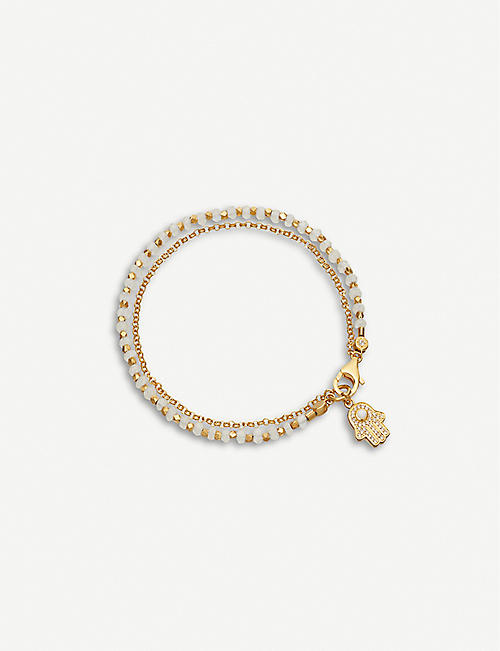 ASTLEY CLARKE: Hamsa hand charm 18ct gold-plated sterling silver, sapphire pavé and rainbow moonstone bracelet