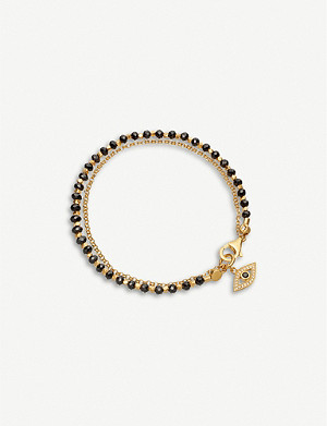 ASTLEY CLARKE Evil Eye charm 18ct gold-plated silver, white sapphire and spinel gemstone bracelet