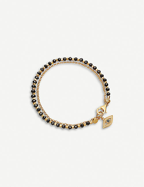 ASTLEY CLARKE: Evil Eye charm 18ct gold-plated silver, white sapphire and spinel gemstone bracelet