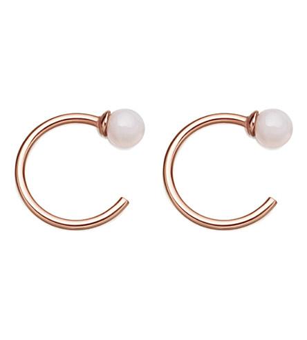 Astley Clarke EZRA 18CT ROSE GOLD-PLATED AND PINK OPAL STUD HOOP EARRINGS