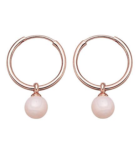 Astley Clarke Vera rose-gold vermeil & pink opal drop hoop earrings