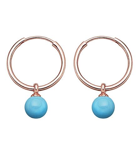Astley Clarke Vera rose-gold vermeil & turquoise drop hoop earrings
