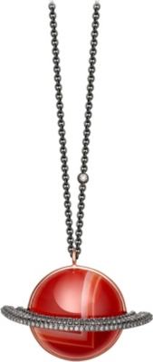 ASTLEY CLARKE Saturn 14ct rose gold, diamond and agate necklace