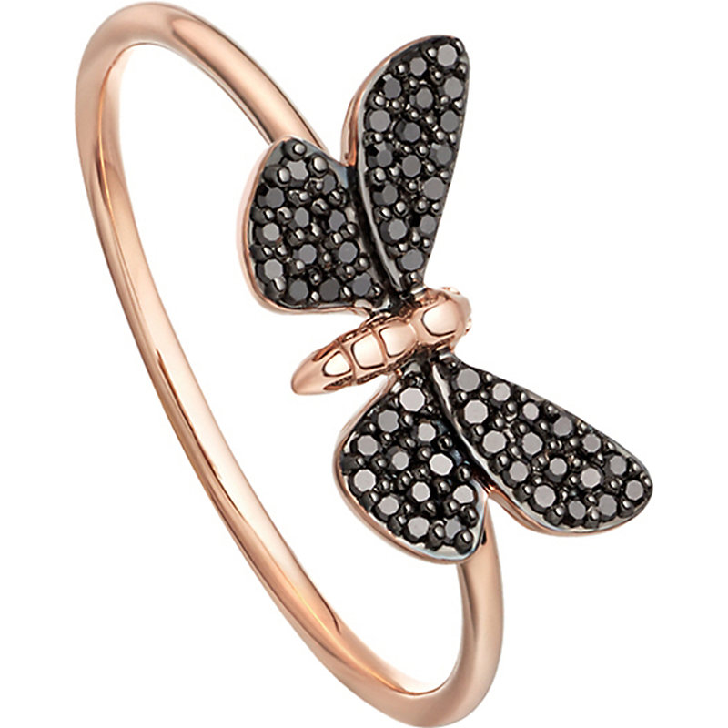 Astley Clarke CINNABAR PAPILLON 14CT ROSE-GOLD AND BLACK DIAMOND RING